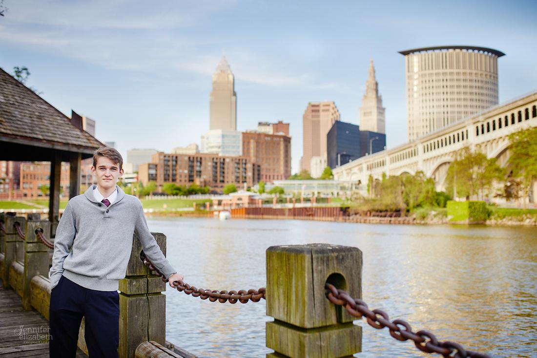 Jameson: Senior Portrait Session in The Flats, Cleveland