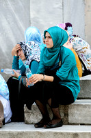 Women outside the Blue Mosque in Istanbul, Turkey