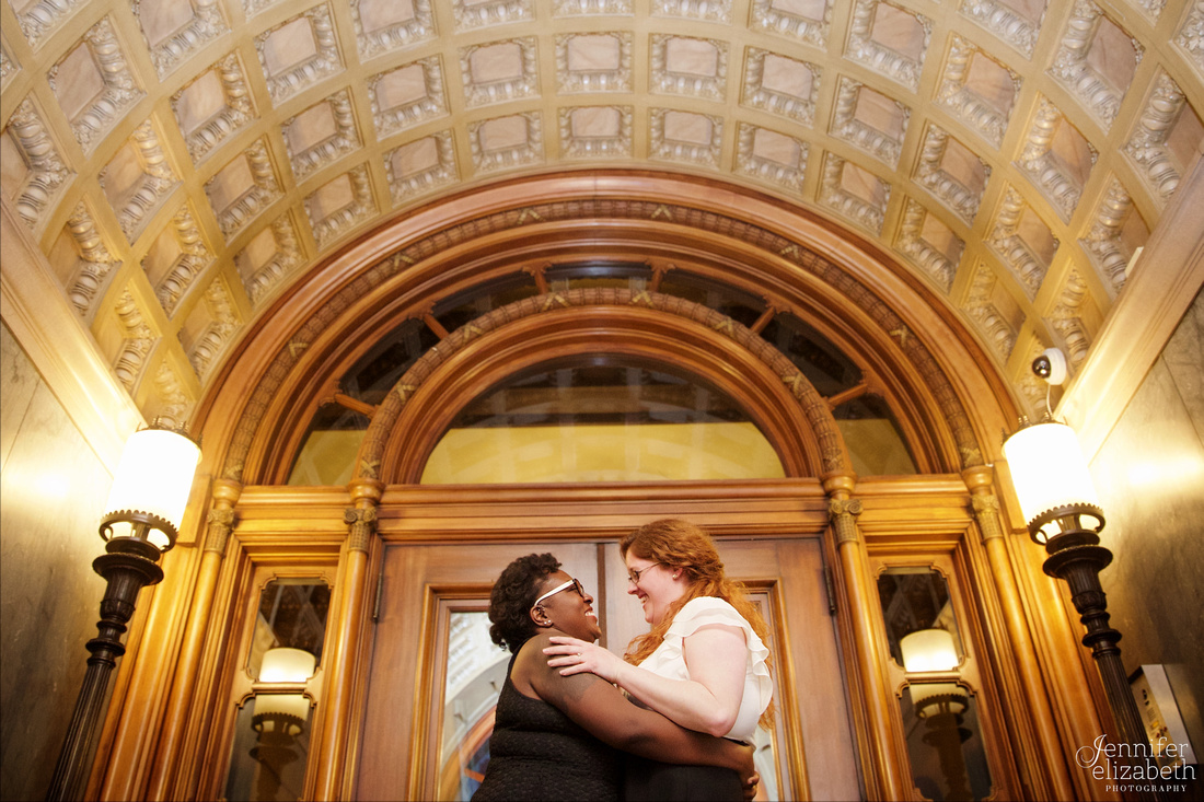 Liz and Christina: Downtown Cleveland Engagement Session