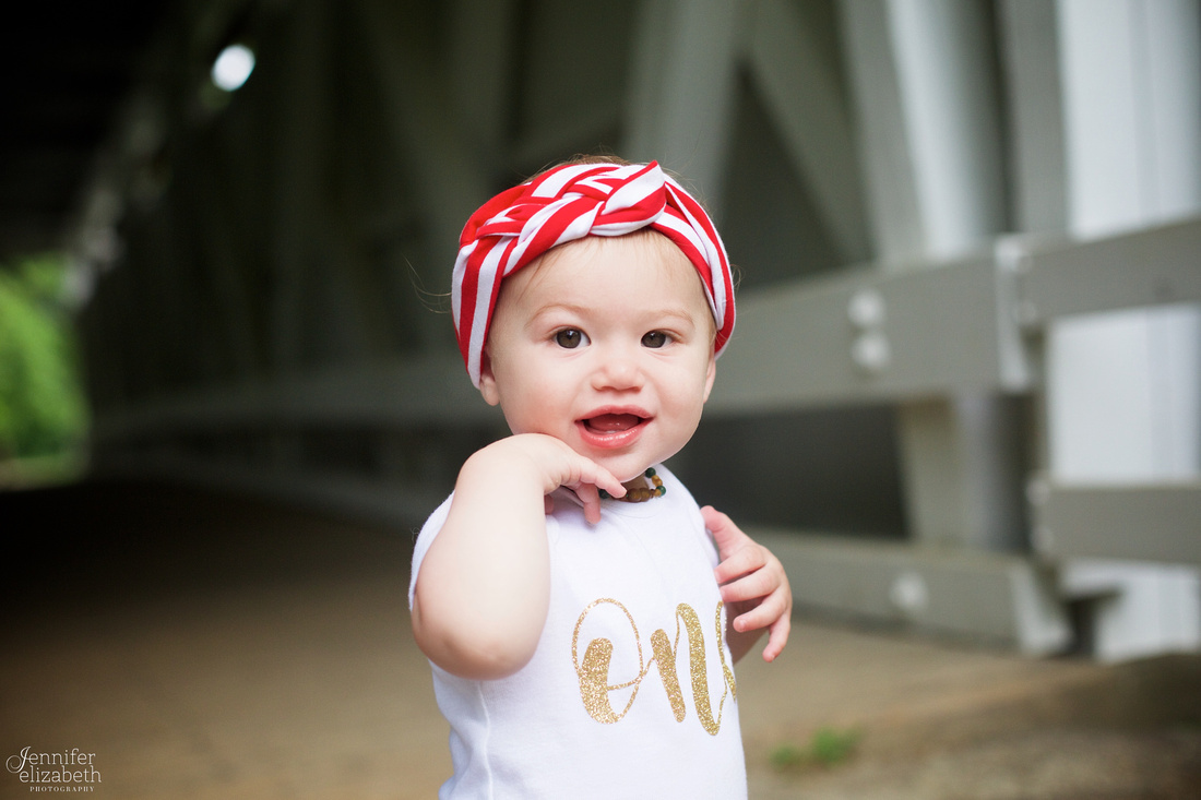 Margot's One Year Portrait Session at Everett Road Covered Bridge